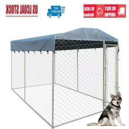 2 Sizes Outdoor Pet Dog Run House Kennel Shade Cage Enclosur