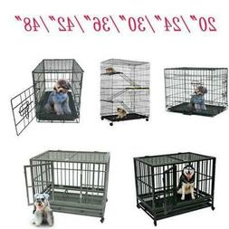 """20""""/24""""/30""""/36""""/42""""/48""""Dog Steel Crate Animal Playpen Cage W"""