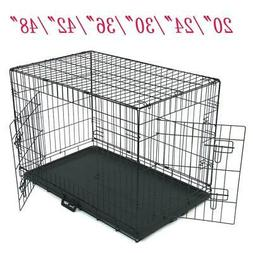 "20""/24""/30""/36""/42""/48"" Pet Cat Dog Folding Steel Crate Play"