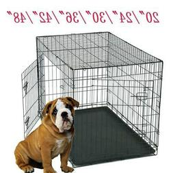 "20""/24""/30""/36""/42""/48""Pet Cat Dog Folding Steel Crate Anima"