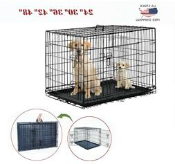 "24""30""36""42""48"" Dog Crate Kennel Folding Metal Cat Pet Cage"