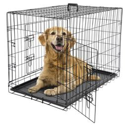 """36"""" Dog Crate Kennel Folding Metal Pet Cage 2 Door With Tray"""