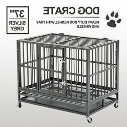 """XL 37""""  Dog Cage Crate Heavy Duty Strong Metal Pet Kennel"""