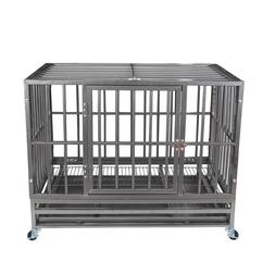 """37"""" Gray Heavy Duty Dog Cage Strong Metal Crate Kennel Playp"""