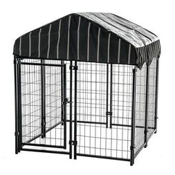 """Lucky Dog 4'6""""H x 4'L x 4'W Welded Wire Outdoor Dog Kennel w"""
