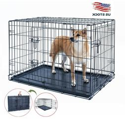 """42"""" Dog Crate Kennel Folding Metal Pet Cage 2 Door With Blac"""
