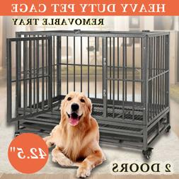 """42"""" Dog Crate Kennel Heavy Duty Pet Cage Playpen W/Removable"""
