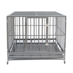 "42"" Gray Heavy Duty Dog Cage Strong Metal Crate Kennel Playp"