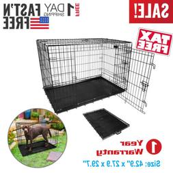 "42"" Inch Pet Kennel Cat Dog Folding Suitcase Crate Wire Meta"