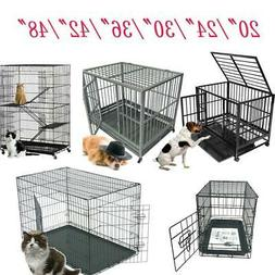 """48""""/42""""/36""""/30""""/24""""/20""""Pet Kennel Cat Dog Folding Crate Cage"""