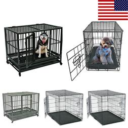 """48""""/42""""/36""""/30"""" Pet Kennel Cat Dog Folding Crate Wire Metal"""