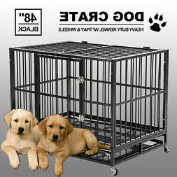"""48"""" Black Heavy Duty Dog Crate Cage Pet Kennel Playpen Exerc"""