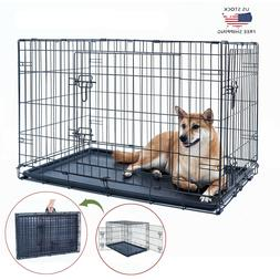 "48"" Dog Crate Kennel Folding Metal Black Pet Cage 2 Door Wit"