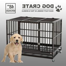 48 dog crate large kennel cage heavy