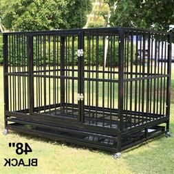 """48"""" Dog Crate Large Kennel Heavy Duty Pet Cage w/Wheels & Tr"""