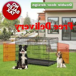 48 Double Door Extra Large Folding pet Dog Crate Cage with D