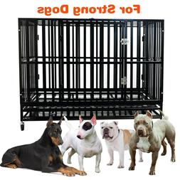 48'' Heavy Duty Metal Crate Dog Cage Square Tube Kennel Play