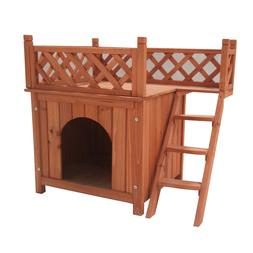 Cedar Wooden Dog Kennel with Side Steps and Balcony - 28x20x