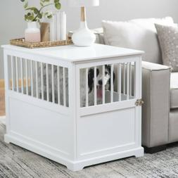 Dog Pet Crate End Table Wood  White Living Room Bedroom Furn
