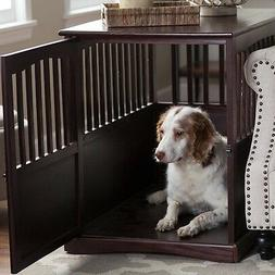 Dog Crate End Table Pet Kennel Cage Indoor Wooden Furniture
