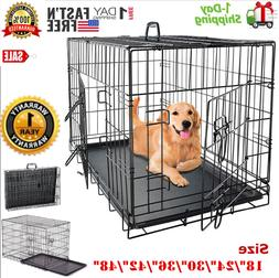"Extra Large Dog Crate Kennel 48""/42""/36""/30""/24"" Folding Pet"