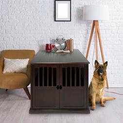 Extra Large Pet Dog Cat Crate Kennel End Table Cage Wood Fur