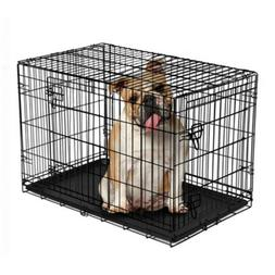 """Vibrant Life Folding Dog Crate, 36"""" Double Door Kennel with"""