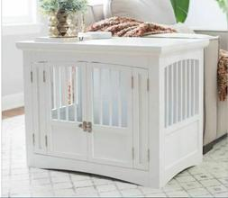 White Indoor Dog Puppy Crate End Table Wood Pet Kennel Cat A