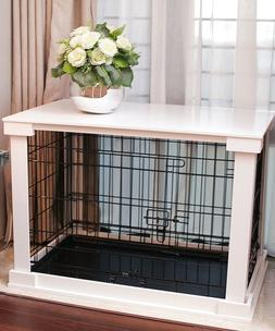 Indoor Dog Crate Wood Pet Kennel Wooden Side End Table Wire