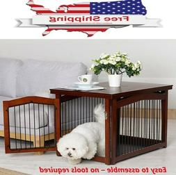 Indoor Dog Pet Kennel Crate Wooden End Table Pet Crate and G