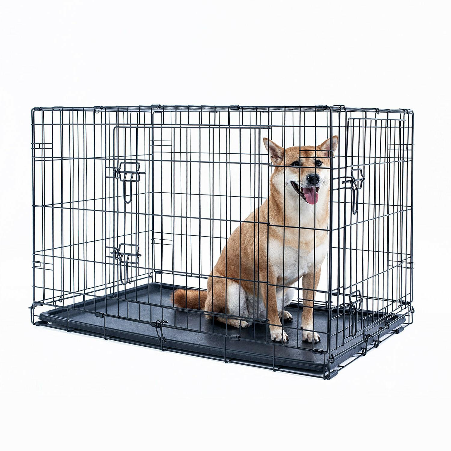"""48"""" Crate Kennel Folding Metal Black Pet Cage Tray"""