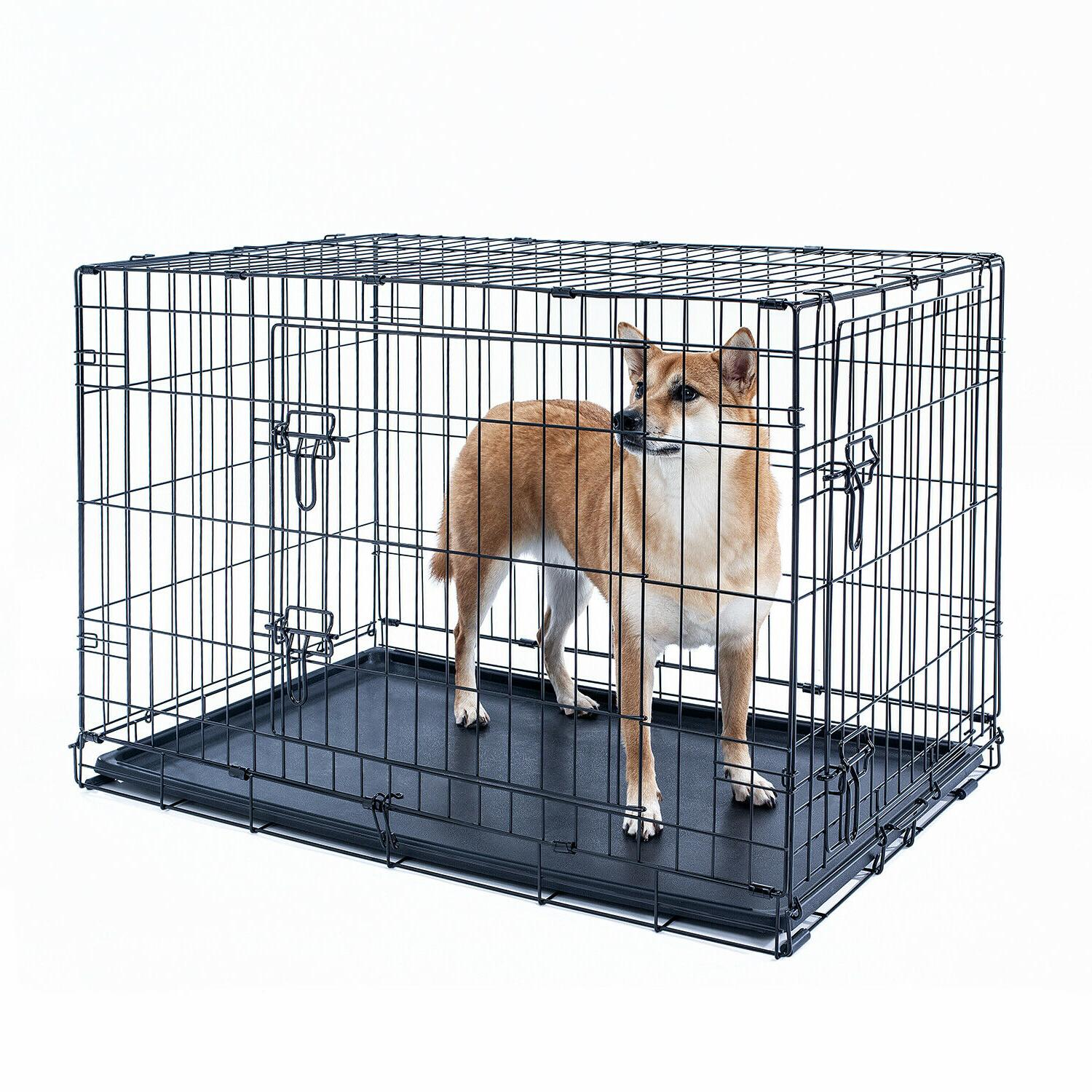 "30"" Crate Folding Pet Cage 2Door With"