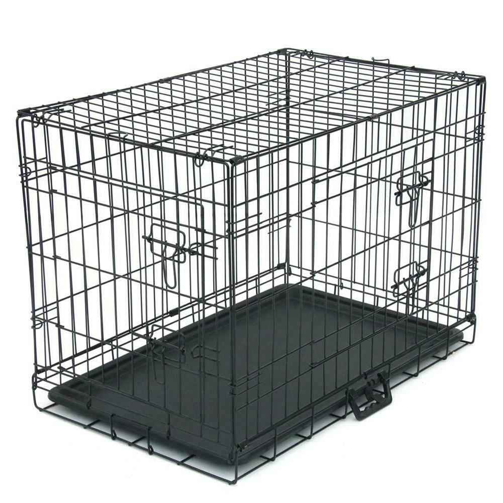 """30"""" Metal Crate Pets Double-Door Cats Dogs Cage With Divider"""
