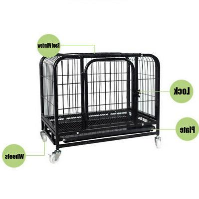 31'' Metal Dog Crate 2 Cat Kennel w/
