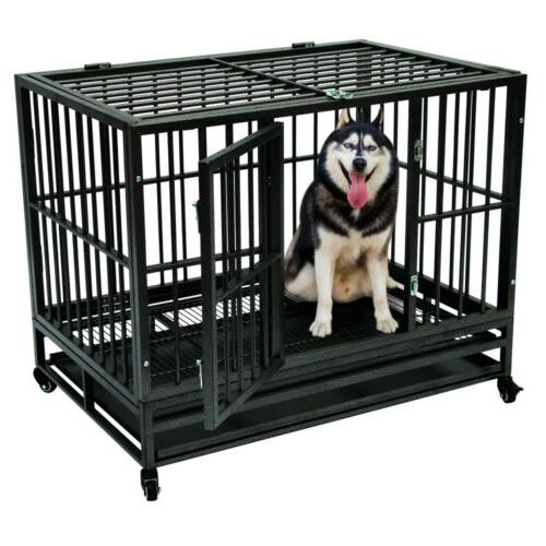 """36"""" Black Brand New Heavy Duty Strong Dog Cage Crate with"""
