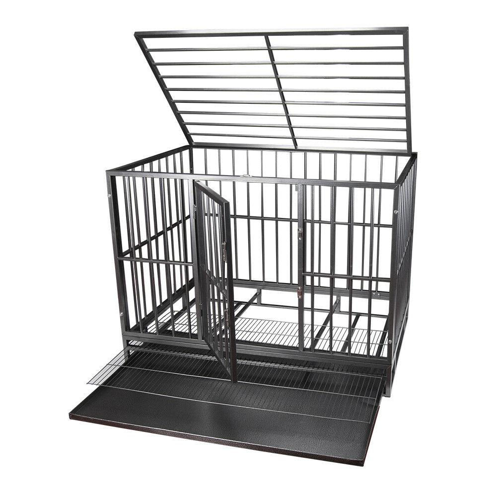 "42"" Gray Heavy Dog Crate Kennel Playpen w/ Wheels&Tray"