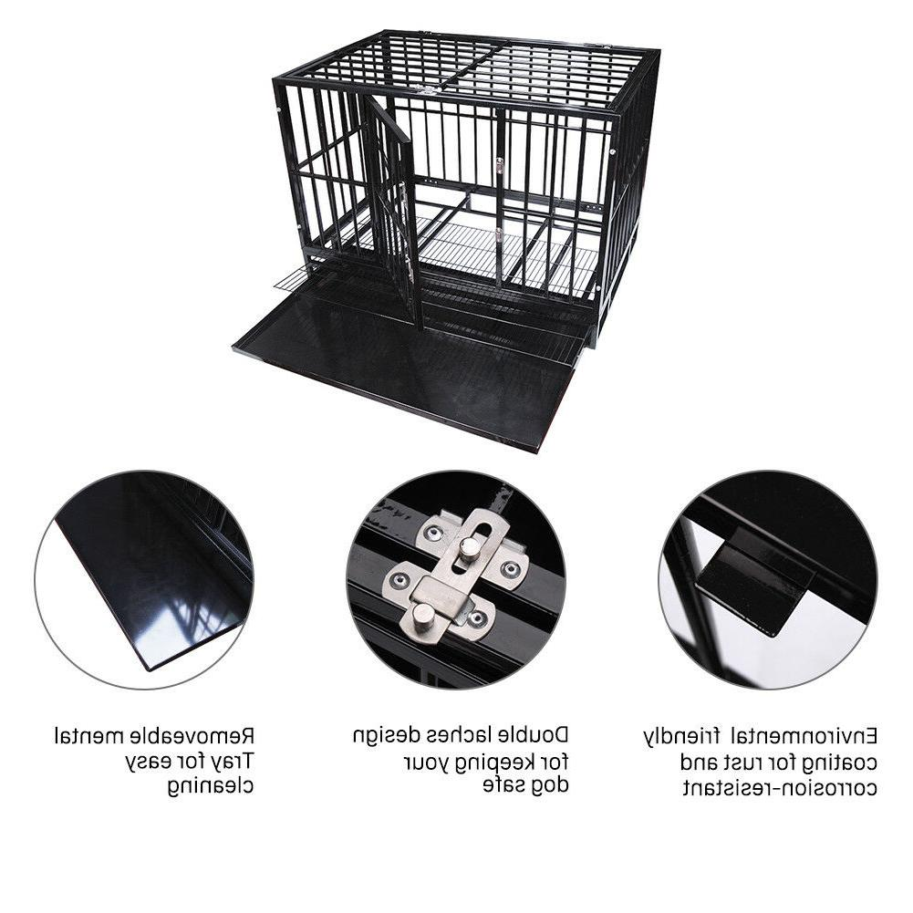 """47"""" Heavy Dog Cage Crate Wheels&Tray"""