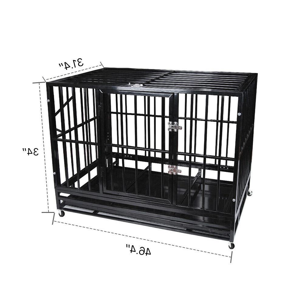 Dog Cage Strong Crate Wheels&Tray