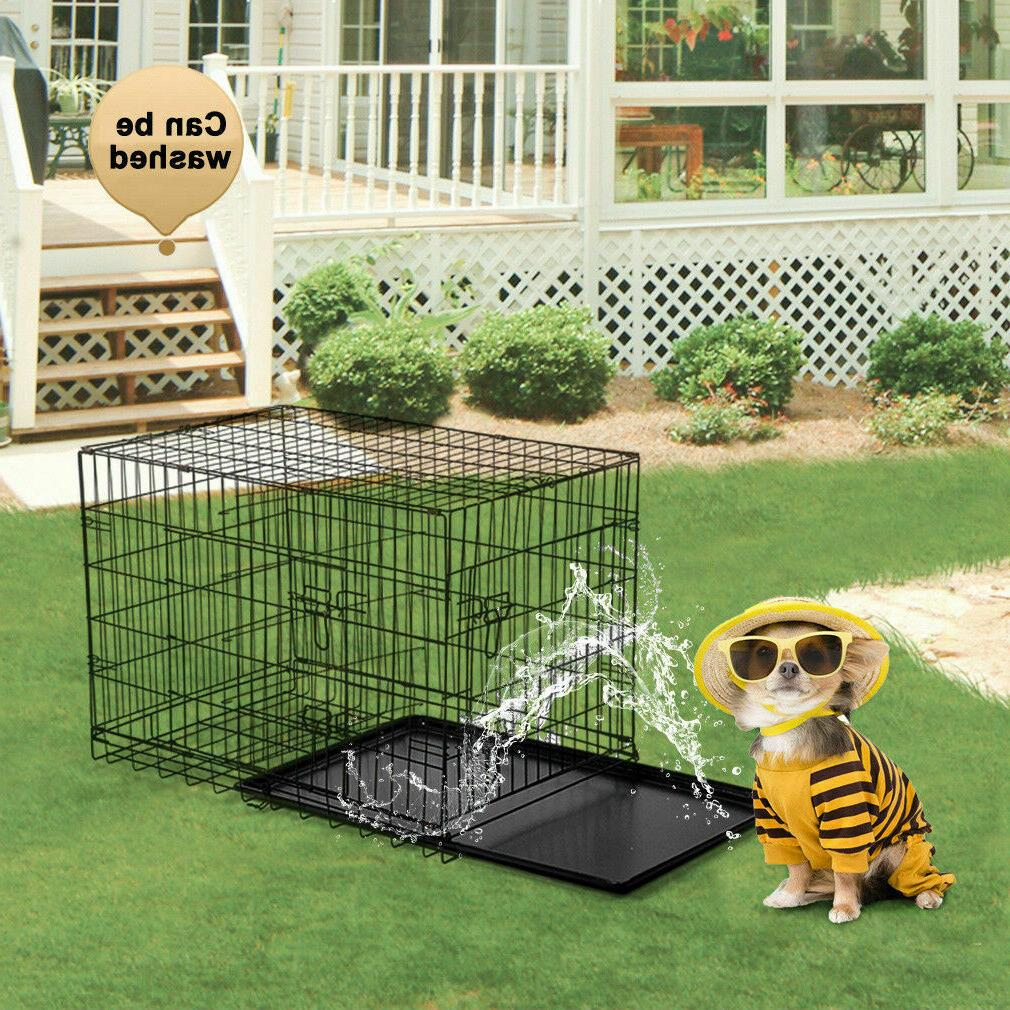 Black Pet Folding w/Divider Cat Crate Cage Kennel w/Tray