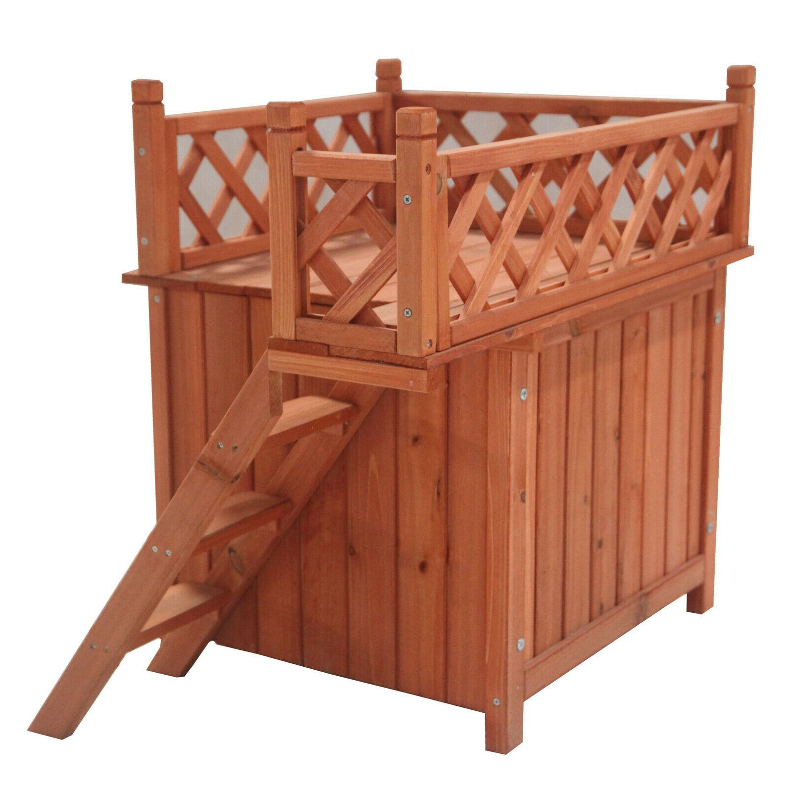Cedar Kennel with Steps and Balcony - 28x20x25in Top Quality