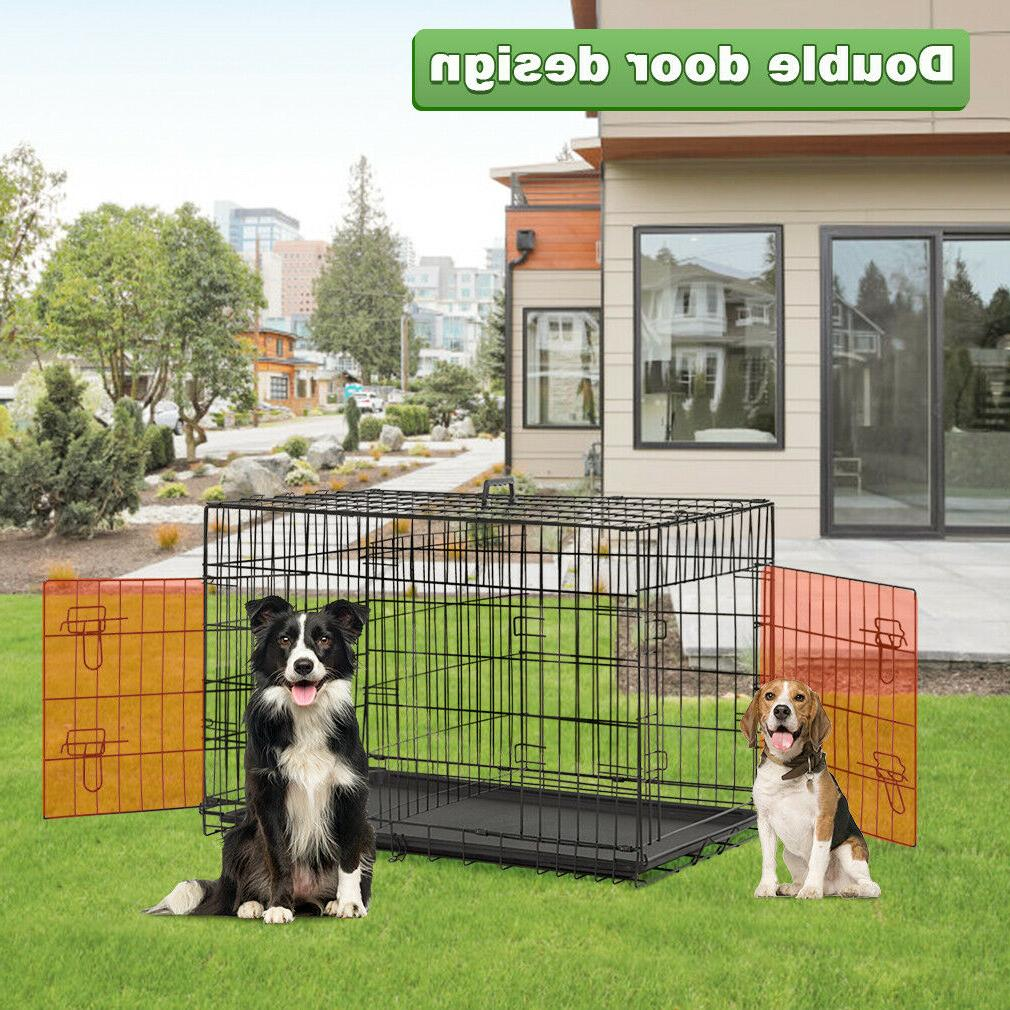 """Dog Crate Large Double Cage Pet w/Divider&Tray,42"""""""