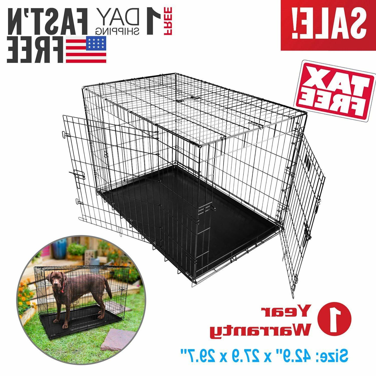 """42"""" Large Portable Folding Wire Dog Crate Cage Kennel with D"""