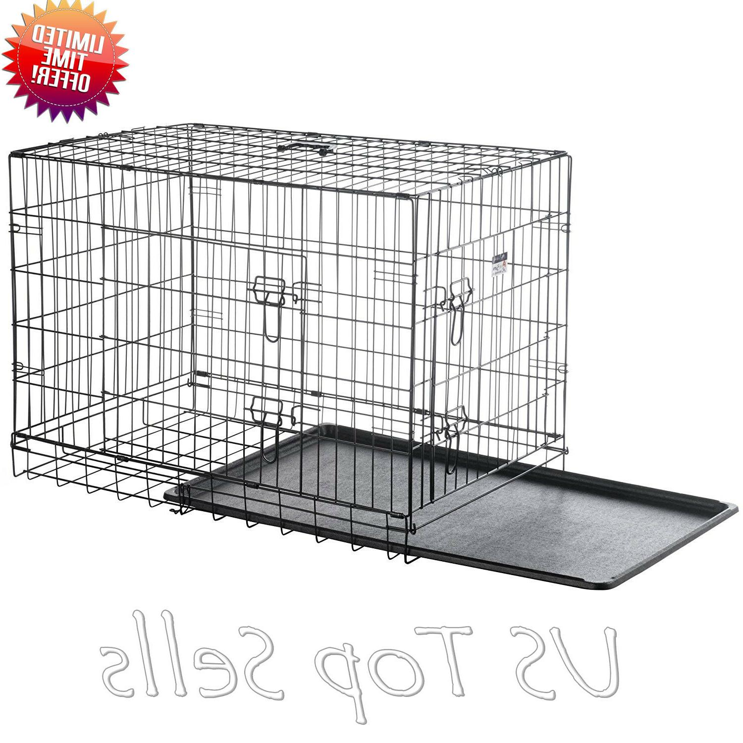 "Extra Dog Kennel 48"" Folding Cage Metal Tray Pan XL"
