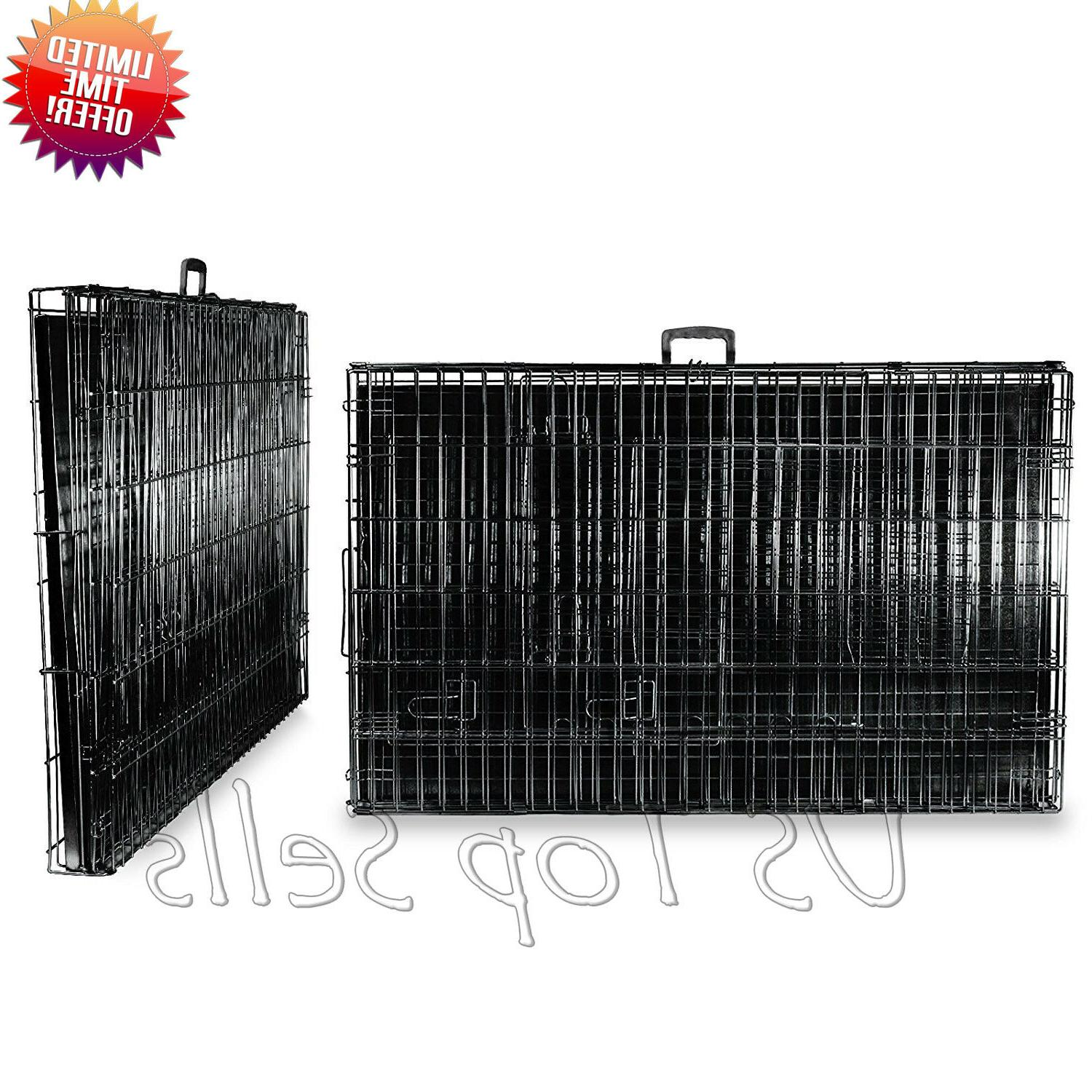 "Extra Large Kennel 48"" Folding Pet Cage Tray Pan XL XXL"