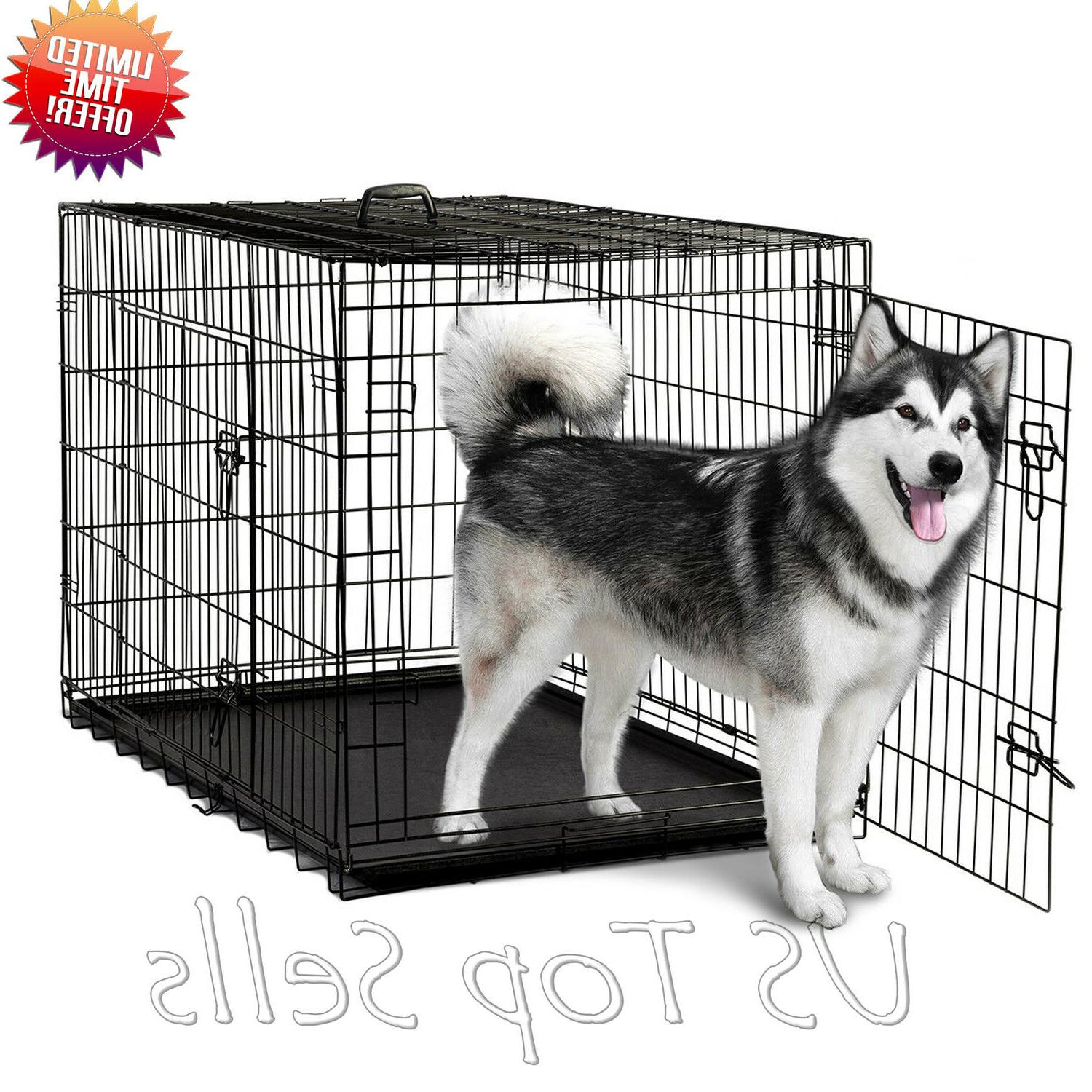 Extra Crate Kennel Pet Cage Metal Doors Tray Pan XL