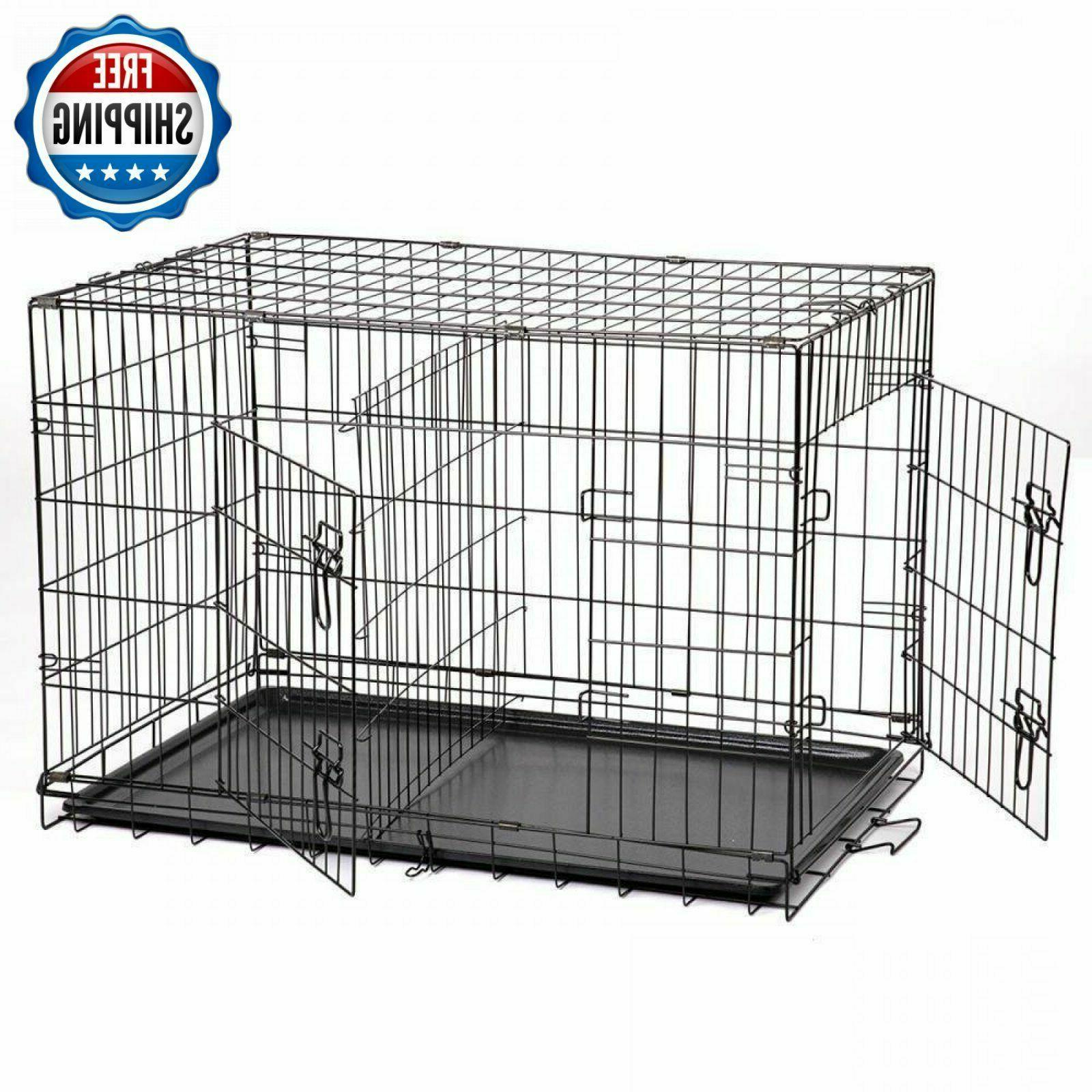 """Extra Large Dog Kennel Crate Folding Pet Cage 48"""" Metal 2 Do"""