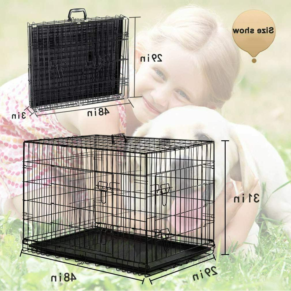"""Extra Large Dog Crate Pet Cage 48"""" Doors Tray"""