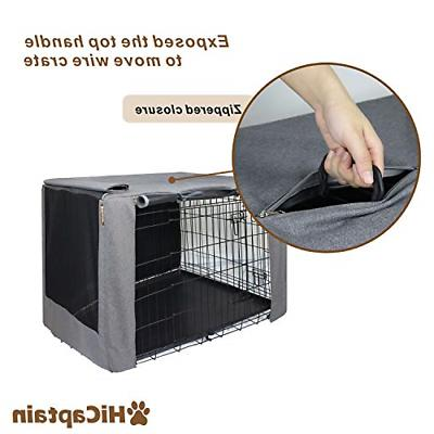 HiCaptain Folding Metal Crate 36 Inch Cage Black