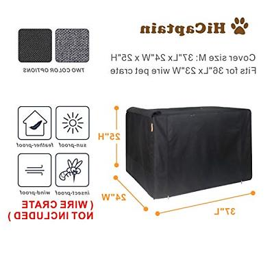 HiCaptain Folding Metal Dog Crate 36 Inch Pet Cage Black