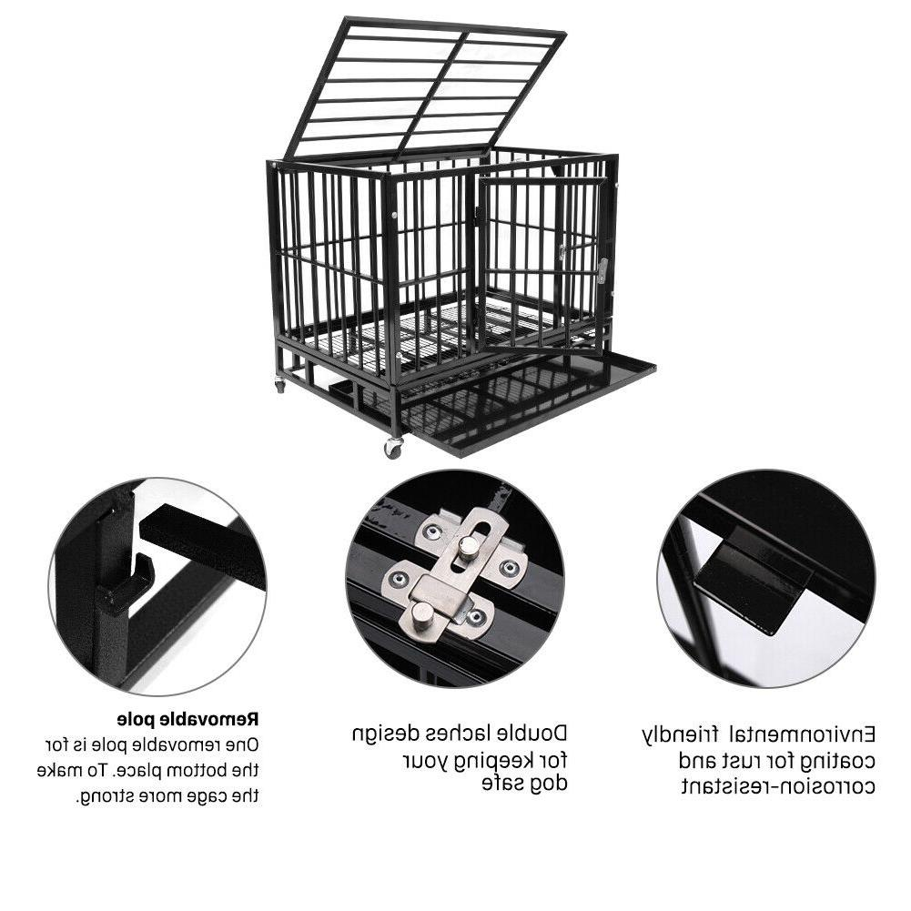 """37"""" Heavy Dog Cage Strong Crate Wheels&Tray"""